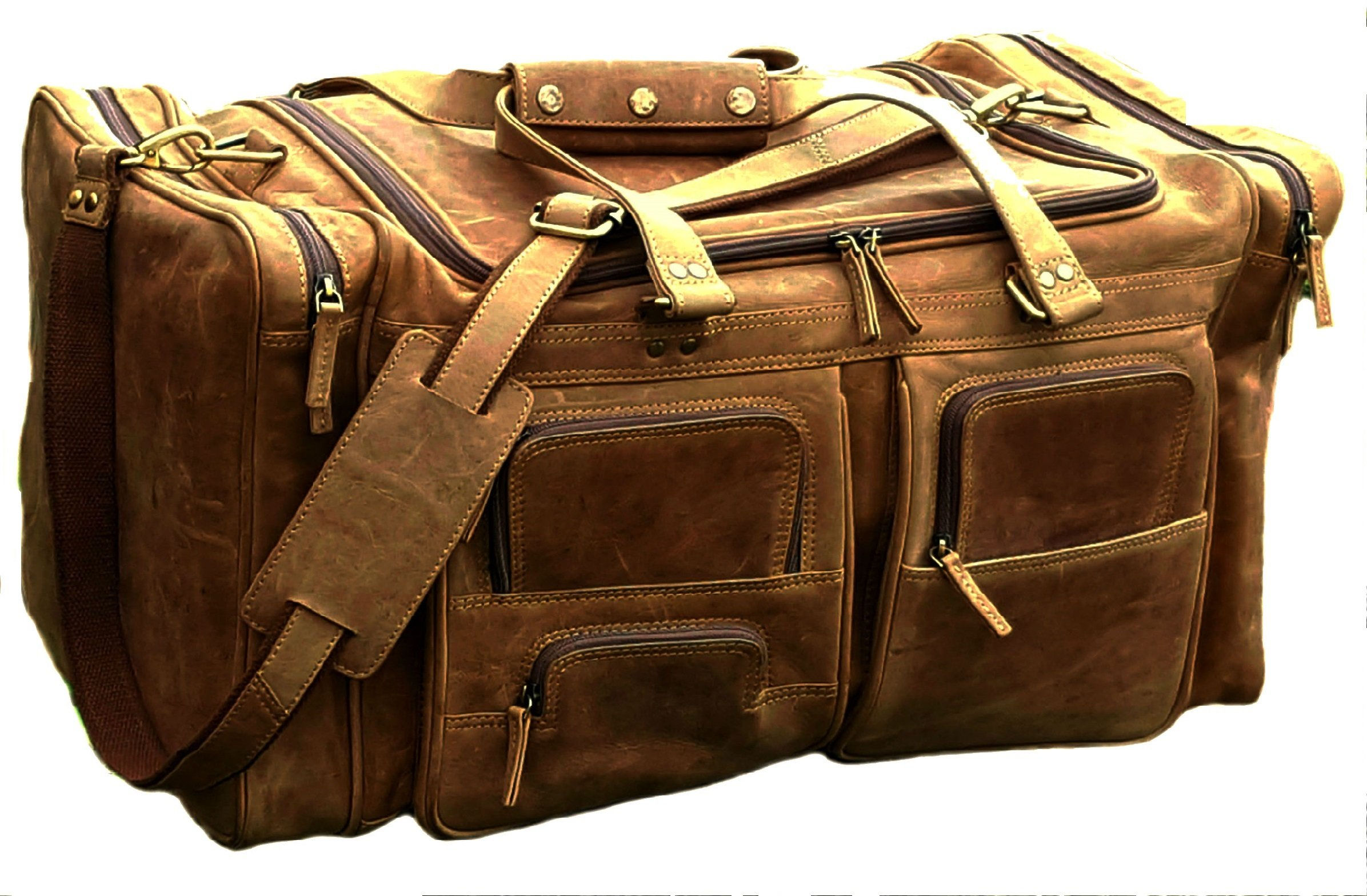 24 Inch Vintage Leather Travel Bag Gym Sports Overnight Weekend luggage Cabin Unisex duffel