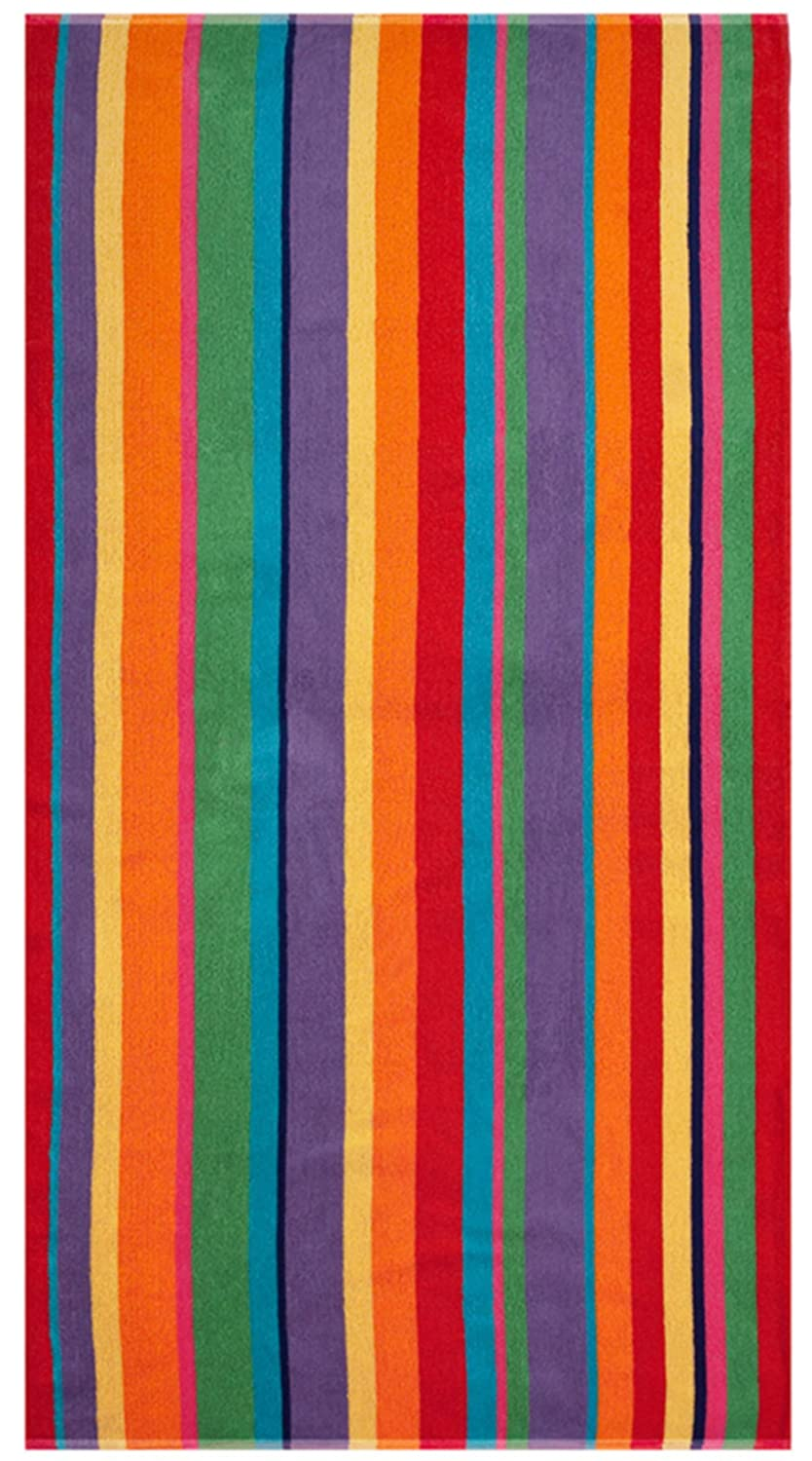 Cotton Craft - Luxury Beach Towel for Two 58x68 - Beach Blanket - Summer of Siam Multi Stripe.