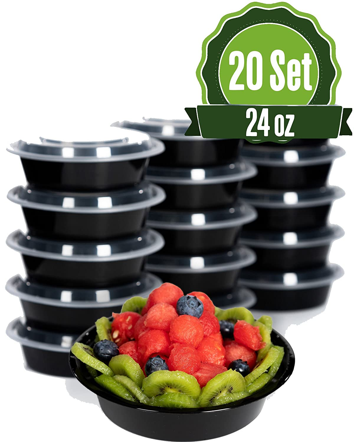 Meal Prep Food Storage Containers with Lids, Round 24 oz (20 Set) - BPA Free, Lunch Portion Control, Dishwasher, Freezer Safe, Microwavable, Reusable or Disposable Plastic Bento boxes