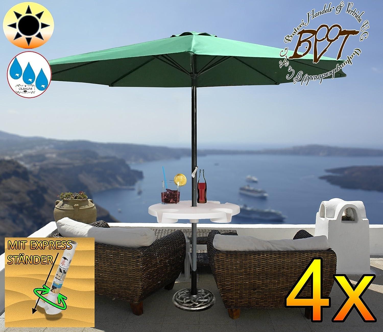 4 Stück XXL Sonnenschirm inkl. Schirmtisch gross, 300 cm / 3m EDEL-grün ohne Volant, 8-teilig / 8-eckig massiv robust, Strandschirm,moosgrün, Strandschirm,Sonnendach /Sonnenschutz Dach, XXL-Klappschirm, Gartenschirm extrem wetterfest, klappbar, tragbar, seewasserfest, hochwertig robust stabil, Sonnenschutz, stabiler Schirm Klappschirm, grün, Strandschirme, Sonnenschirme, Sonnenschirm-Tische, Regenschirm Picknickschirme, Gartenmöbel Holz