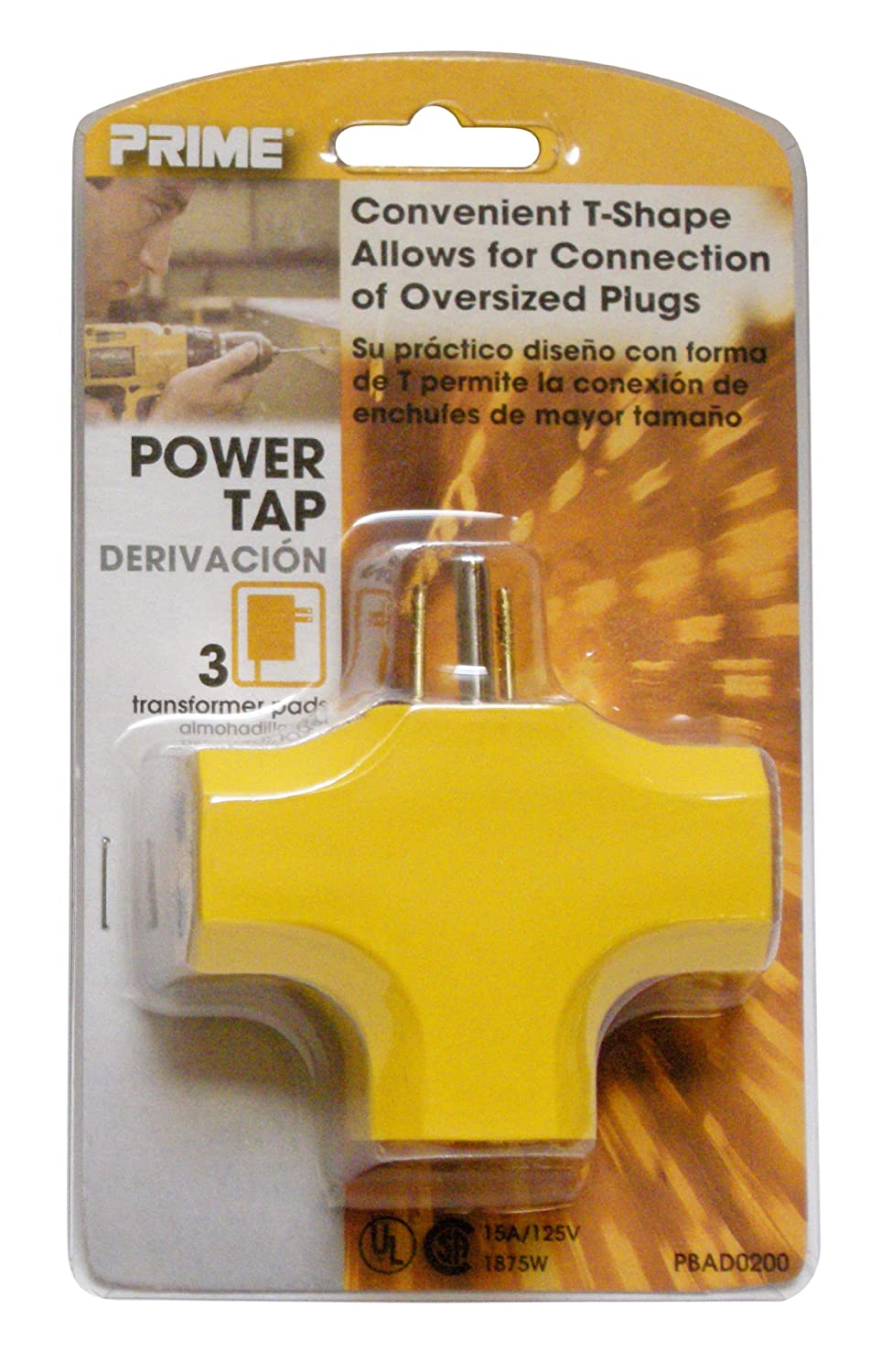 PRIME rime Wire & Cable PBAD0200 90 degree 3-Outlet Adapter, Yellow