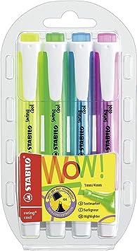 Marcador fluorescente STABILO swing cool - Estuche con 4 colores: Amazon.es: Oficina y papelería