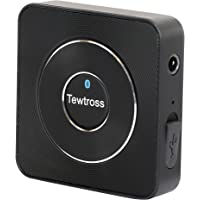 Tewtross Bluetooth Audio Transmitter Receiver for TV PC Laptop Speaker System with 3.5mm Aux RCA Port Wireless (Black)