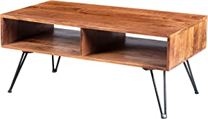 TUP The Urban Port 42 Inch Handcrafted Mango Wood Coffee Table with Metal Hairpin Legs, Brown and Black