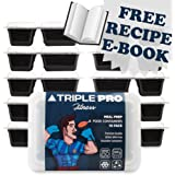 *NEW* PREMIUM QUALITY BPA FREE MEAL PREP FOOD CONTAINERS – [10 PACK 2 COMPARTMENT] Microwave, Dishwasher, Freezer Safe. Your Portion Control Assistant. Airtight Lids - [850ml] - Triple Pro® Fitness
