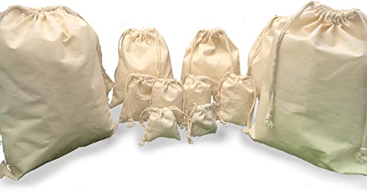 Premium Quality. 4 x 6 Inches Cotton Canvas Double Drawstring Muslin Bags