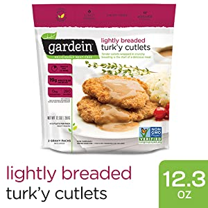 Gardein Lightly Breaded Turk'y Cutlets with Homestyle Gravy, Meatless Protein Packed Patties, Contains Sauce Packet, 4 Pack (Frozen)