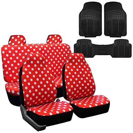 FH GROUP FB115114 Full Set Polka Dots Red Color Car Seat Covers With F11306