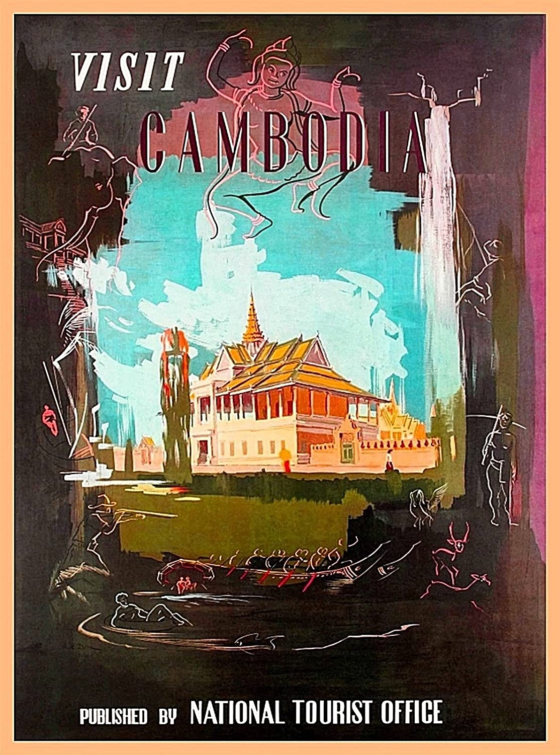 Amazon Com A Slice In Time Visit Cambodia Southeast Asia Asian National Tourist Office Vintage Travel Home Collectible Wall Decor Souvenir Advertisement Art Poster Print 10 X 13 5 Inches Posters Prints