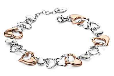 Fiorelli Silver Rose Gold and Silver Multi Heart Bracelet  Amazon.co ... 5ff2c40c2d