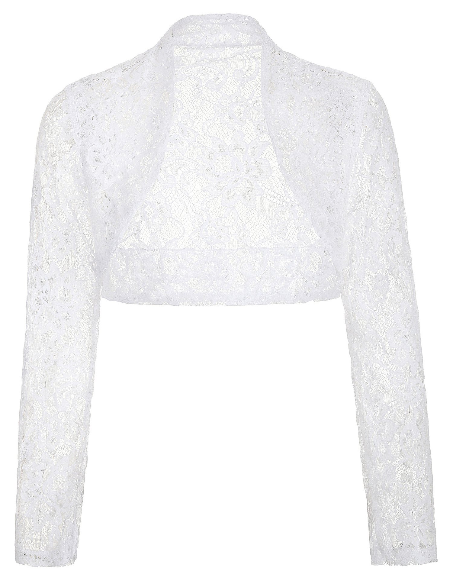 Women's Lace Crochet Bolero Hollow Sheer Knit Cardigan Top (XL, White) by JS Fashion Vintage Dress (Image #1)