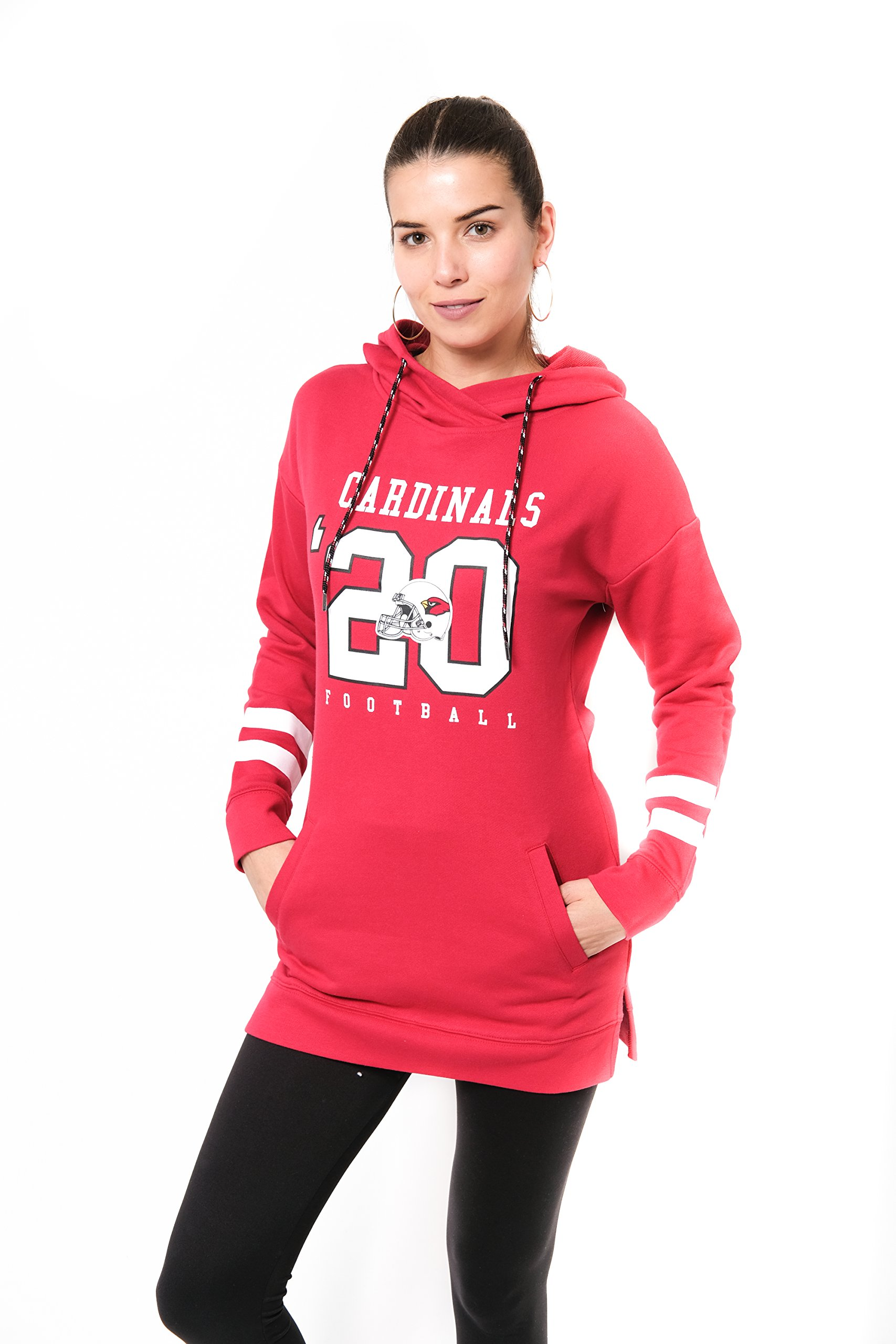 ICER Brands NFL Arizona Cardinals Women's Tunic Hoodie Pullover Sweatshirt Terry, Small, Red