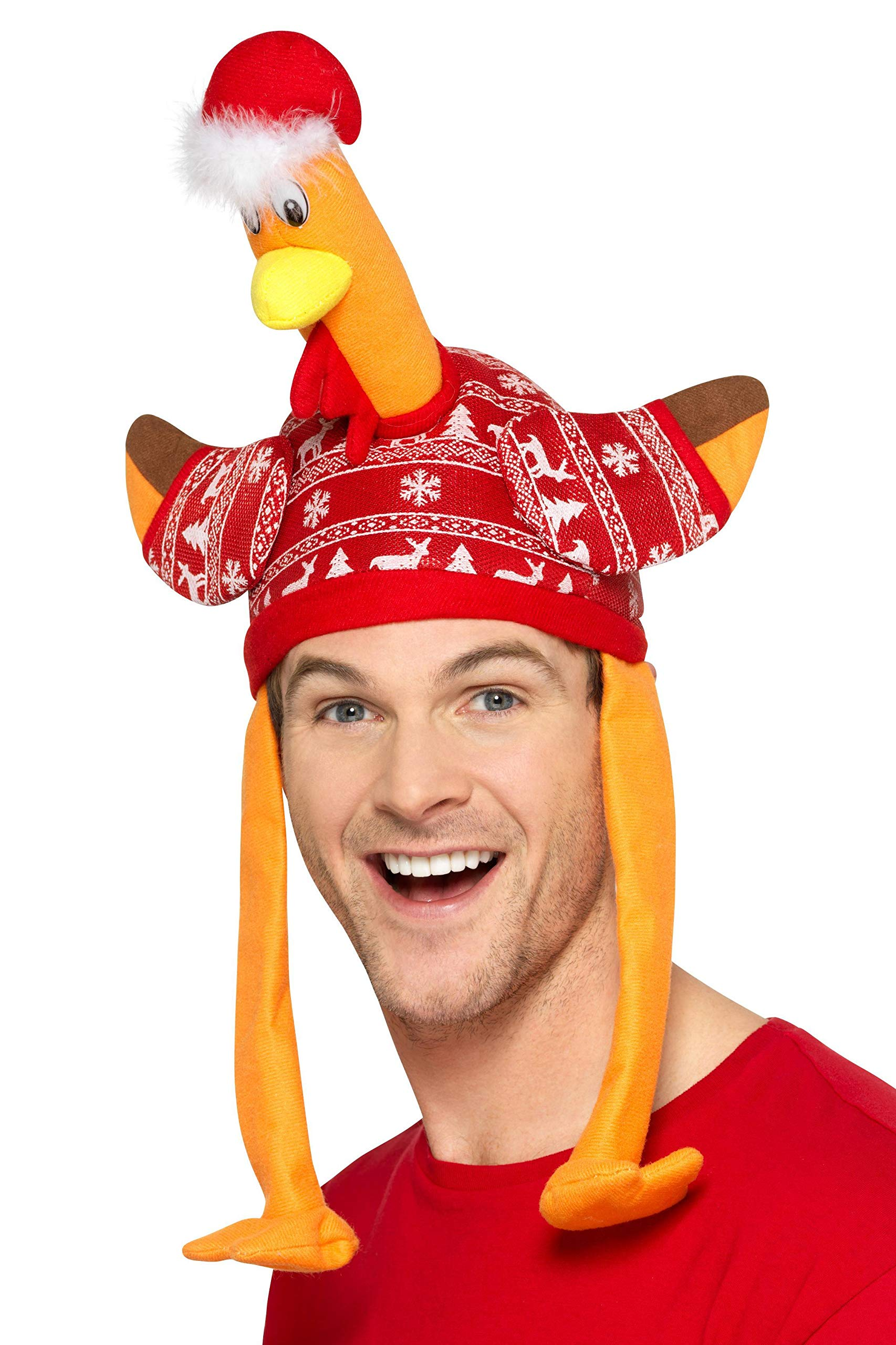 Turkey Hat, Red, With Christmas Jumper by Smiffy's
