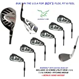 AGXGOLF Boy's Right Hand Magnum Series Irons Set: w #3 Hybrid + 5, 6, 7, 8 & 9 Irons + PW + Bonus Sand Wedge: All Sizes: Built in the U.S.A.