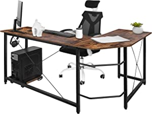 AuAg Modern L-Shaped Home Office Desk with Iron Hook, 66 inch Sturdy Computer PC Laptop Table Corner Desk Workstation Larger Gaming Desk Easy to Assemble 66