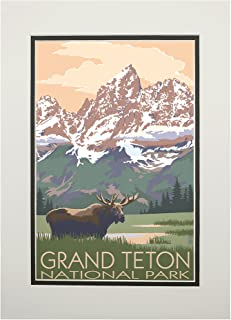 product image for Grand Teton National Park, Wyoming - Moose and Mountains (11x14 Double-Matted Art Print, Wall Decor Ready to Frame)