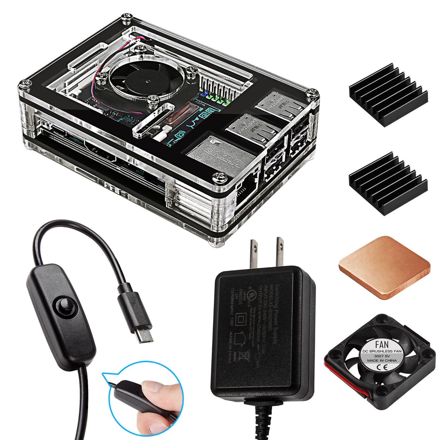 Smraza ASUS Tinker Board Case with Cooling Fan, 2.5A Power Supply with ON/OFF Switch, Aluminum Heatsinks(Not Fit for Asus Tinker Board S Version)
