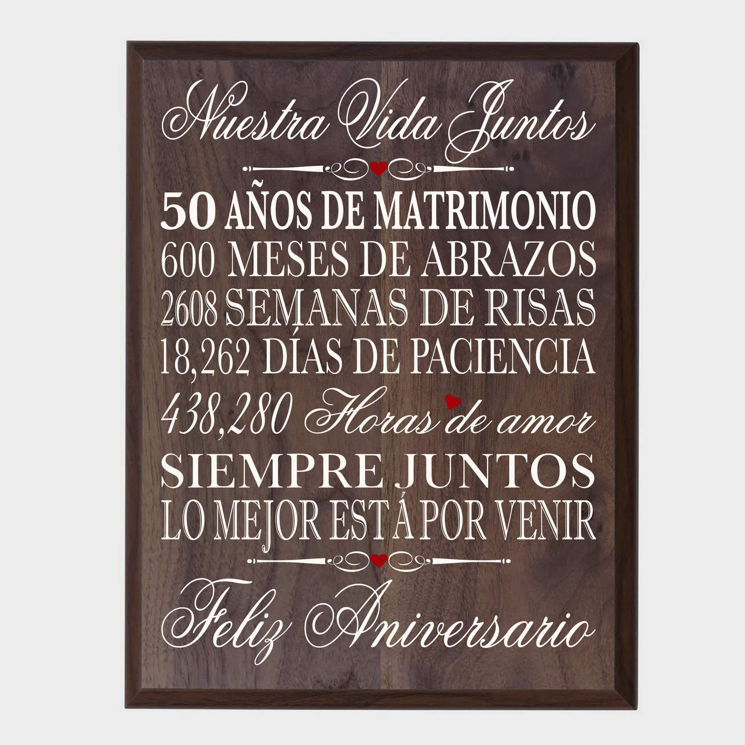 LifeSong Milestones Spanish 50th Wedding Anniversary Wall Plaque Gift for her, him, Husband, Wife, Couples 12'' x 15'' (Walnut)
