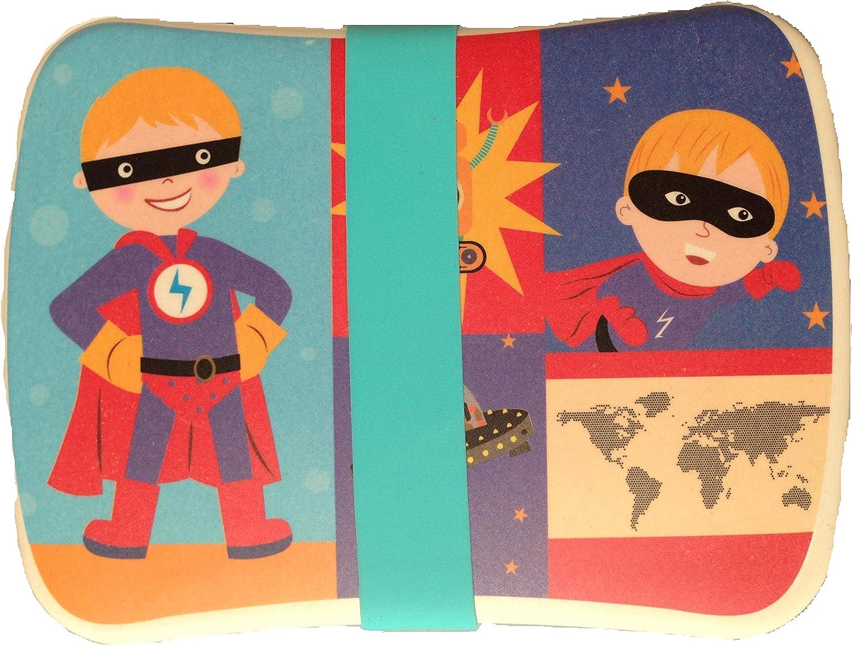 FIBERBAMBOO Fiambrera bambú Infantil Caja Sándwich Biodegradable vajilla Camping Tapa bocadillos Juego Bebe niño y niña (Superhéroe): Amazon.es: Hogar