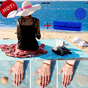 ToHa Toallas de Playa, Esterilla Anti-Arena de Playa para Picnic Familiar, Fiesta de Amigos y Camping Estera de Playa Azul 200cm x 200cm: Amazon.es: Jardín