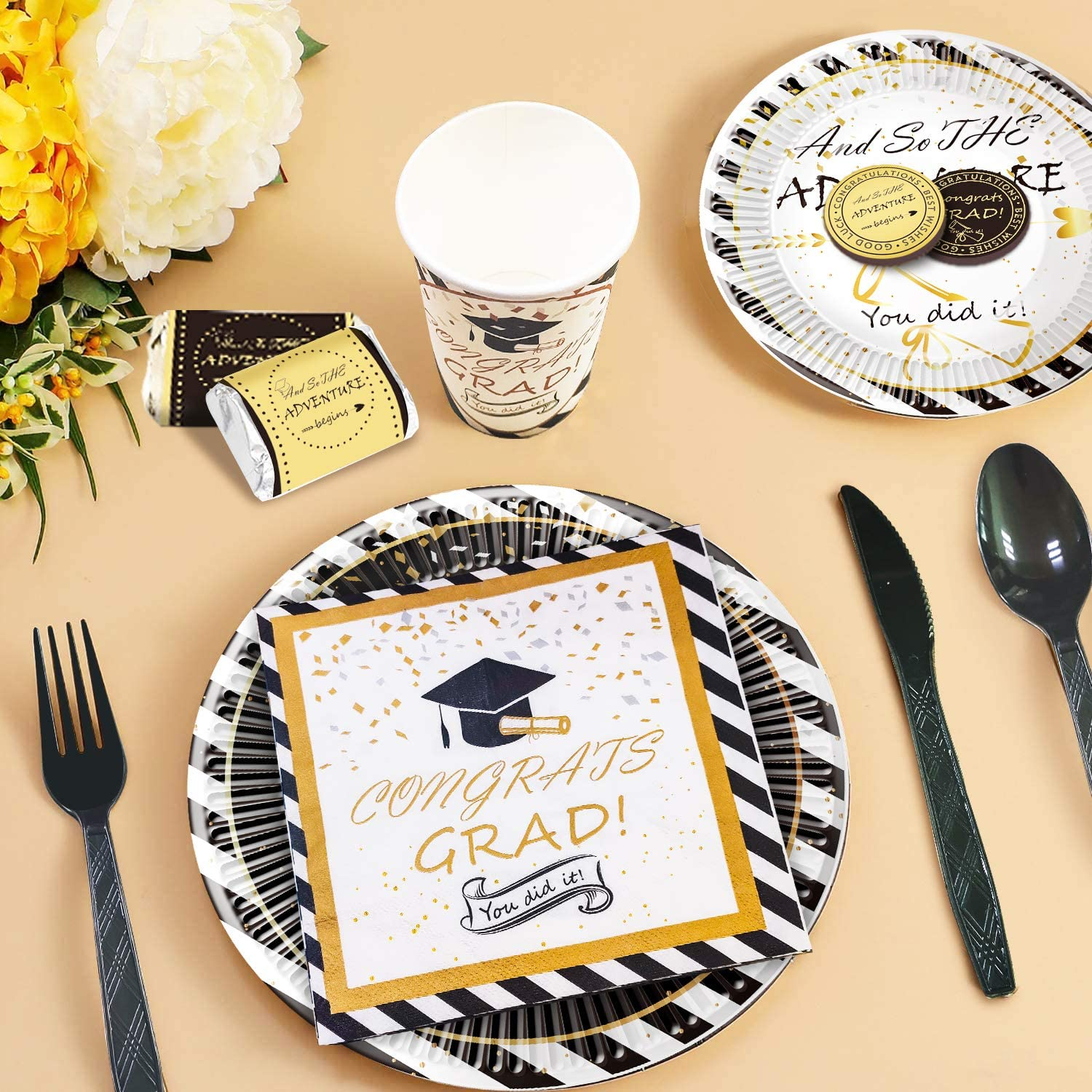 Balloons Cups Cake Toppers Graduation Decorations 2021- Graduation Party Supplies Include Banner Tablecloth Cutlery Chocolate Stickers Plates Serves 16 Napkins Centerpiece Bottle Labels