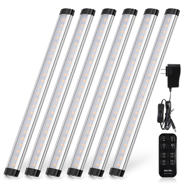 LED Under Cabinet Lighting Remote Control - Albrillo Dimmable Under Counter Lights for Kitchen, Shelf Cupboard, 2000 Lumen, Nature White 4000K, 6 Pack