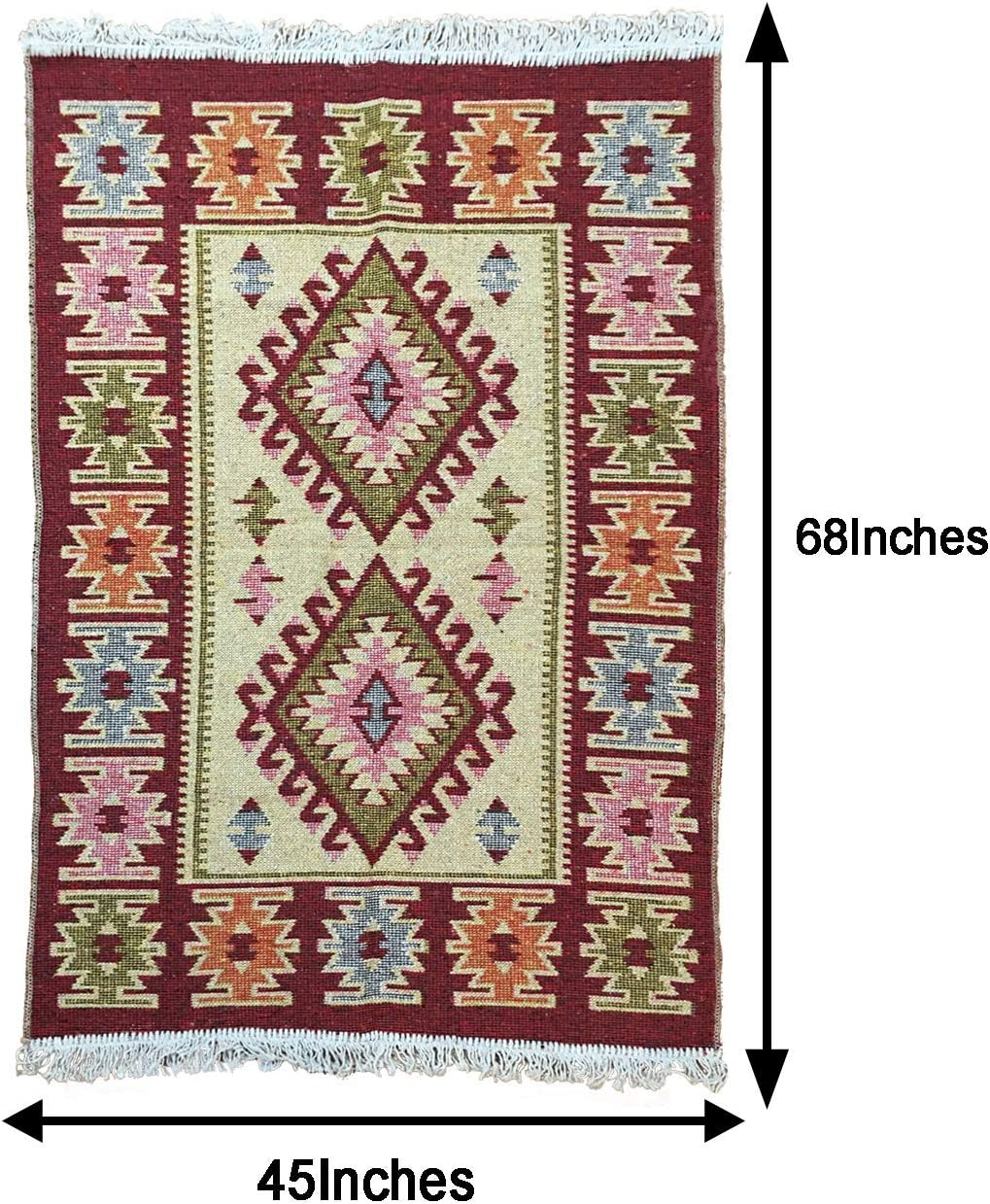 Turkish Modern Bohemian Multicolored Distressed Area Kilim Rug – Use for Both Outdoor and Indoor 45 X 68