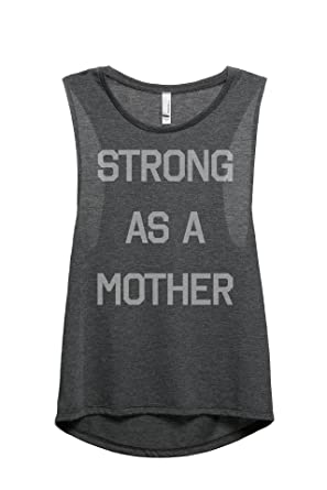 8d897697 Thread Tank Strong As A Mother Women's Fashion Sleeveless Muscle Tank Top  Tee Charcoal Grey Small