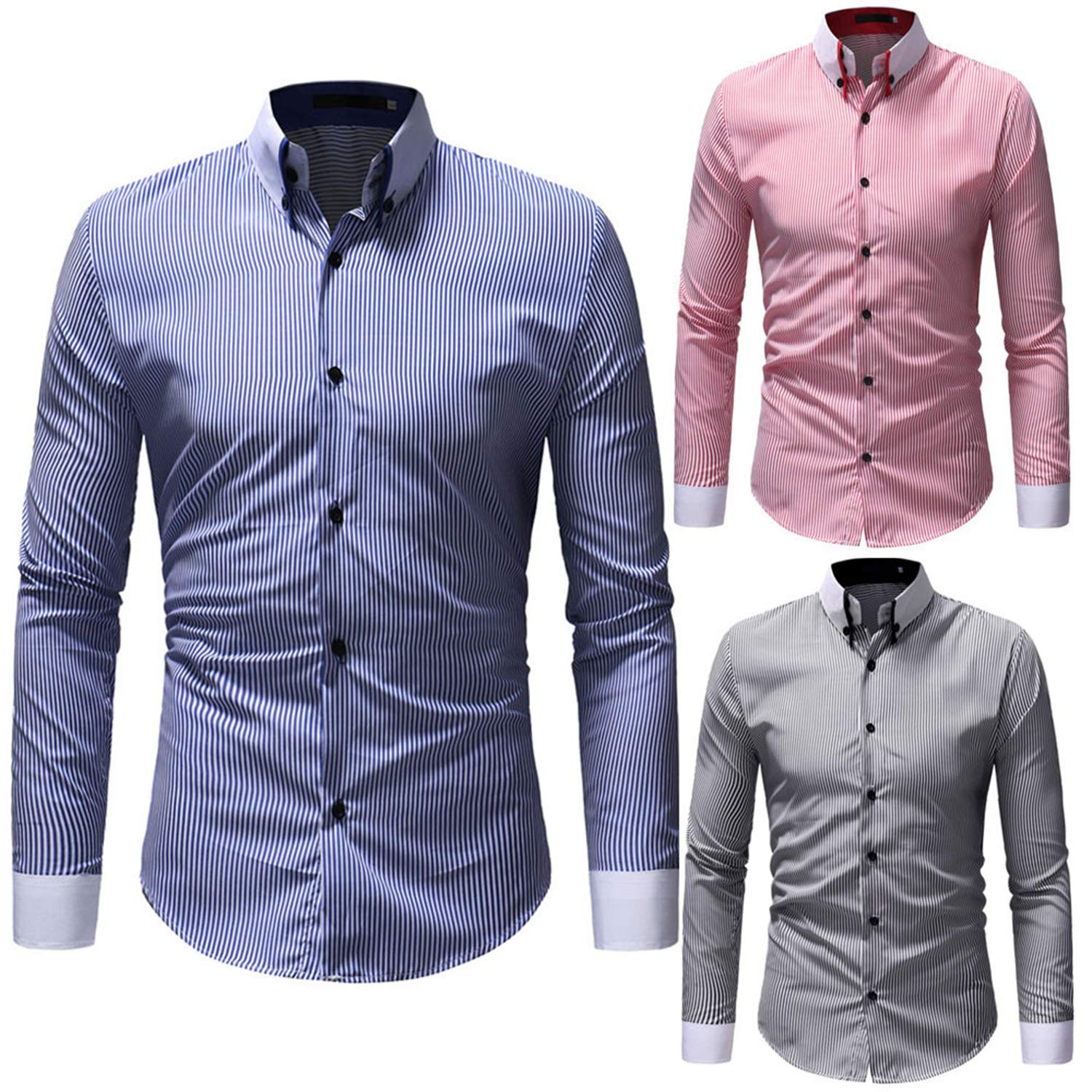 Casual Shirts Men Slim Fit Shirt Mens Autumn Winter Casual Striped Print Long Sleeve Button Top Blouse