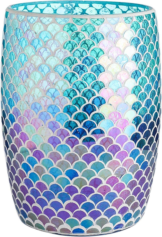 "Whole Housewares Bathroom Wastebasket - Glass Mosaic Decorative Trash Can Dia 7.5"" H 10"" (Fan Shape)"
