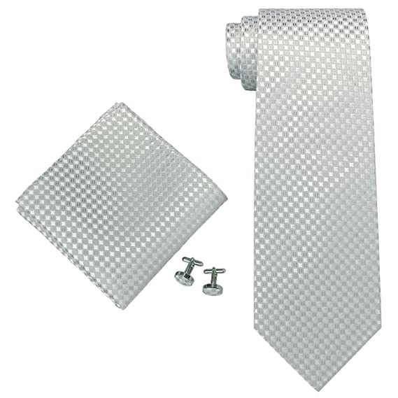 Landisun juego de corbata de seda de cuadriculas: Corbata + ...