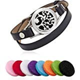 25Mm Aromatherapy/ Essential Oil Diffuser Locket Bracelet Leather Band With 8 Color Pads