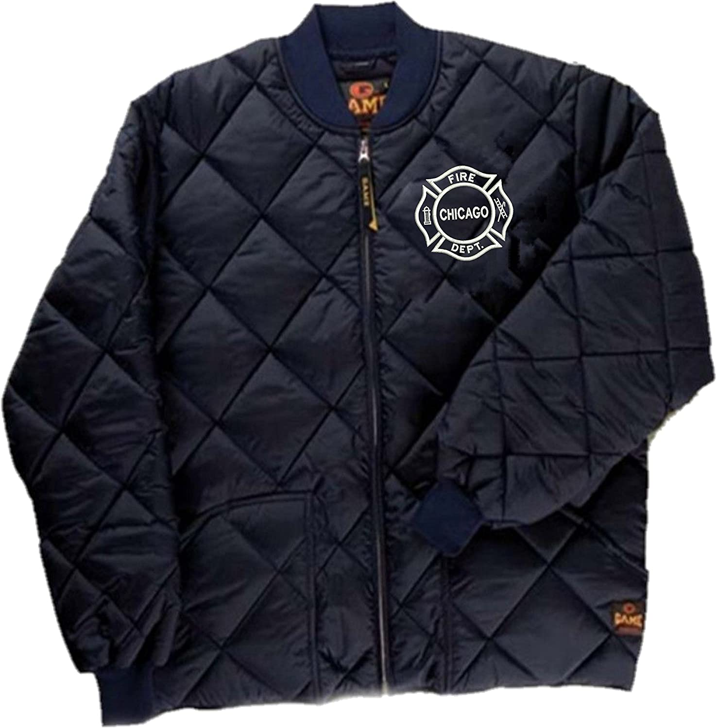 GAME Chicago Fire Department Quilted Jacket W//Embroidered Maltese White Logo As Seen on TV-1221-J