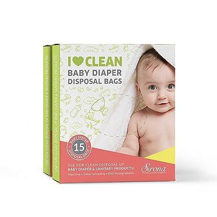 Pañales y bolsas de desechos sanitarios 100% Oxo Biodegradable hermético bolsas de (30 Bolsas