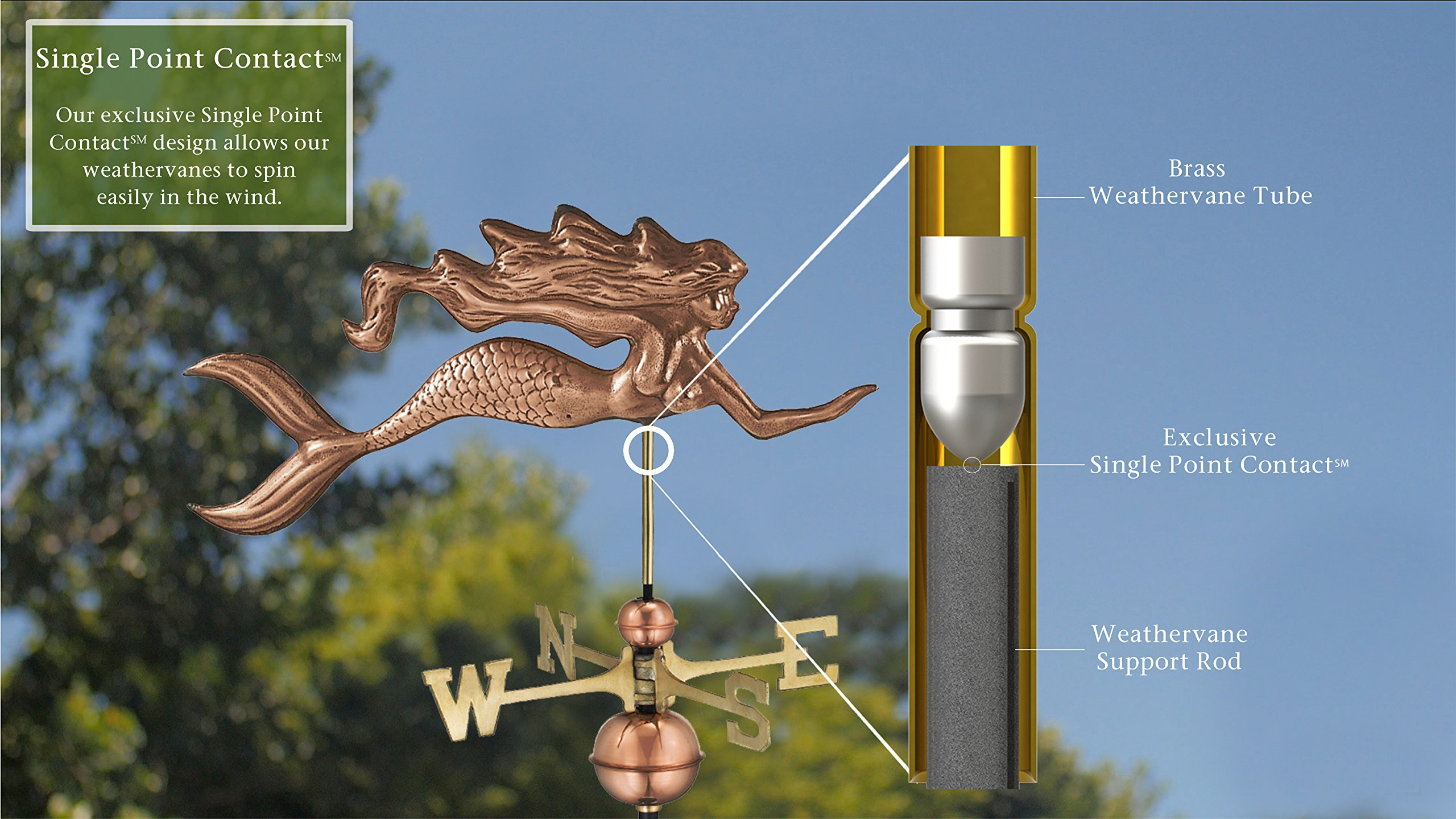 Good Directions Mermaid Weathervane, Pure Copper by Good Directions