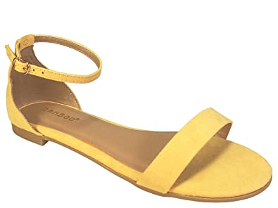 85cda539402 BAMBOO Women's One Band Flat Sandal with Ankle Strap