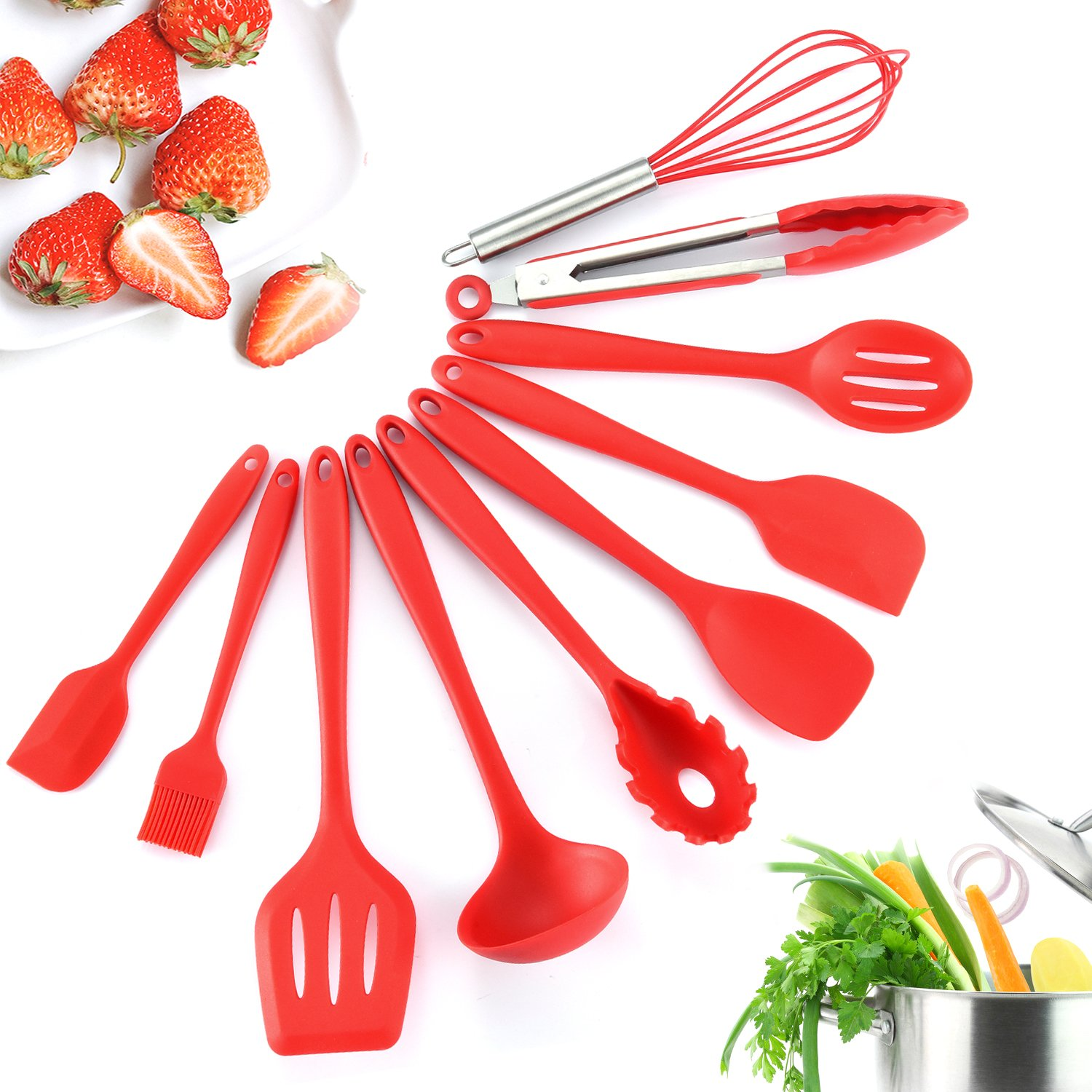 iHomey Silicone Kitchen Utensil Set, 10 Nonstick/Heat Resistant Cooking Utensils - Tongs, Whisk, Spoons, Spatulas, Ladle, Flexible Turner, Pasta Server, Brush - Dishwasher Safe (Red)