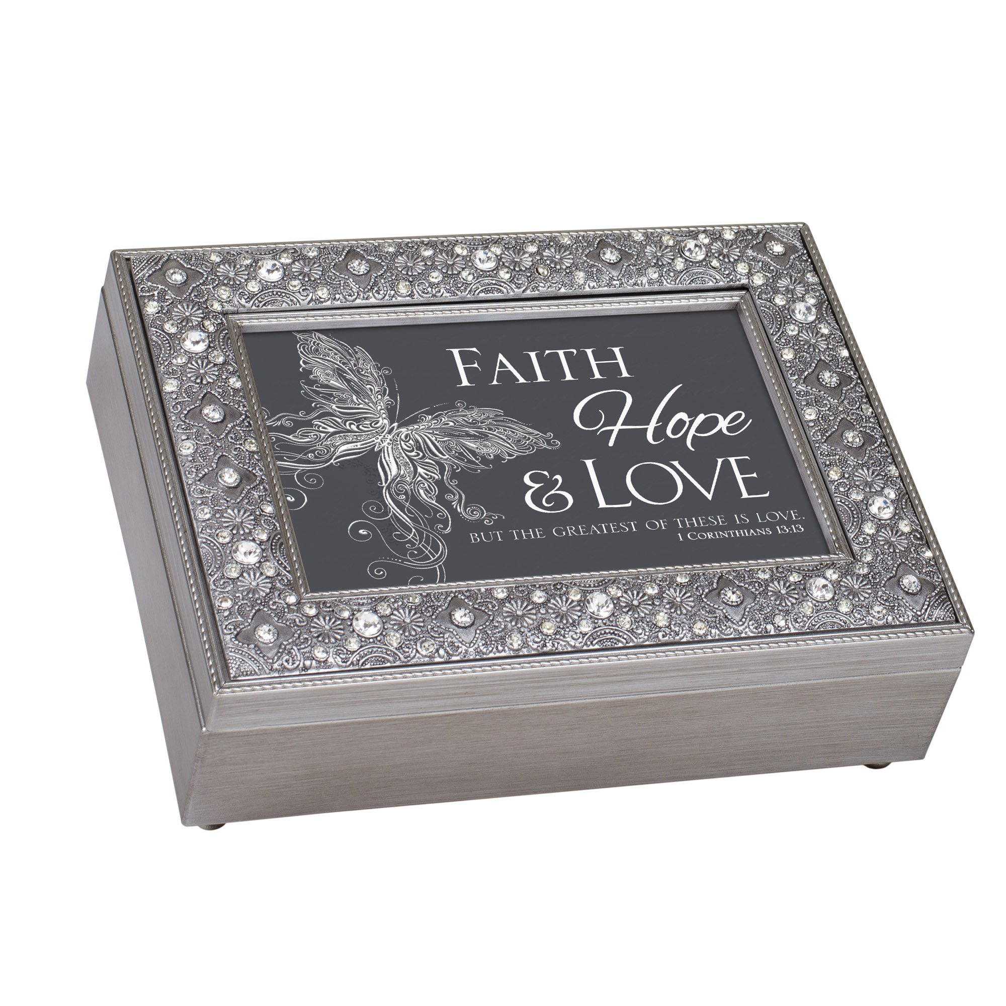 Cottage Garden Faith Hope Love Filigree Jewel Bead Silver Tone Music Box Plays On Eagle's Wings