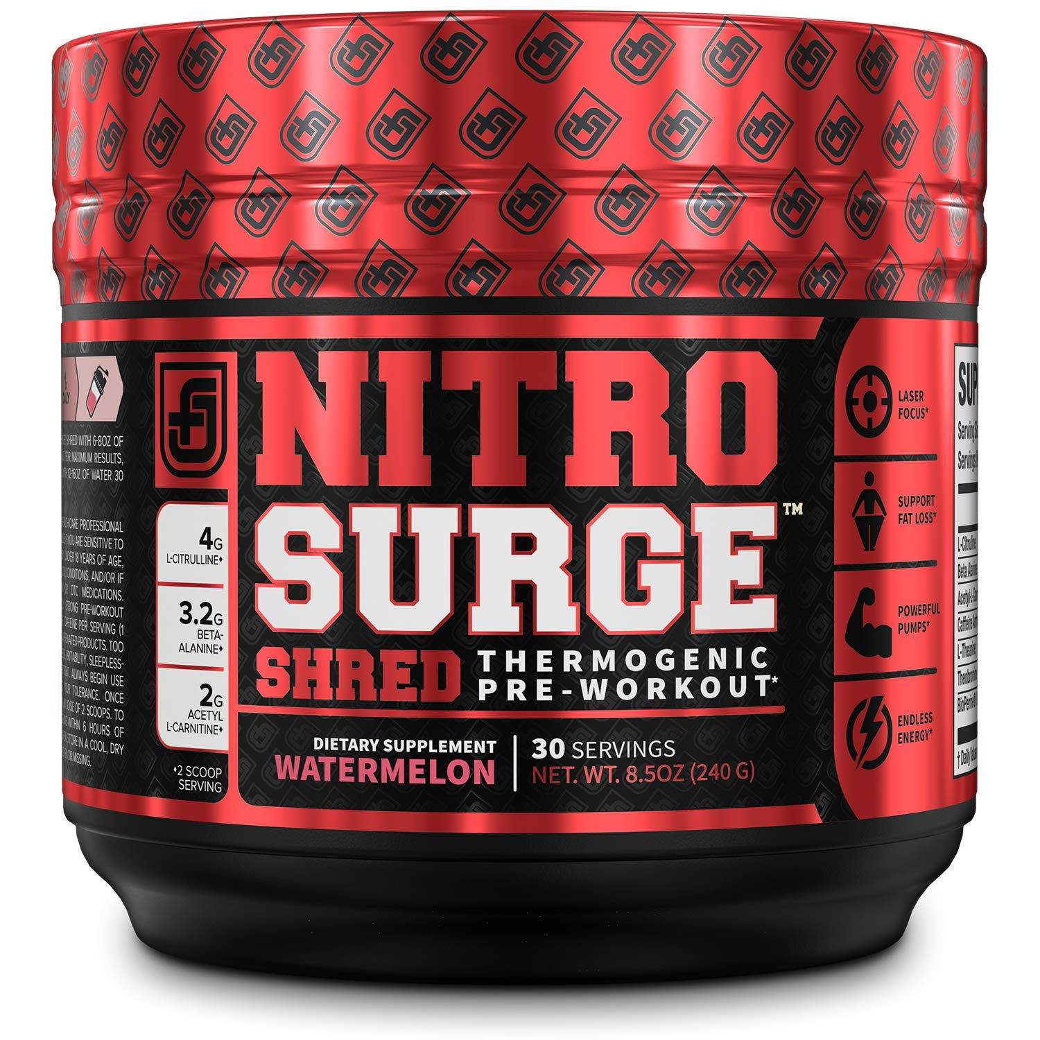 NITROSURGE Shred Pre Workout Supplement - Limitless Energy, Instant Strength Gains, Sharp Focus, Powerful Pumps - Nitric Oxide Booster & PreWorkout Powder - 30Sv, Watermelon by Jacked Factory