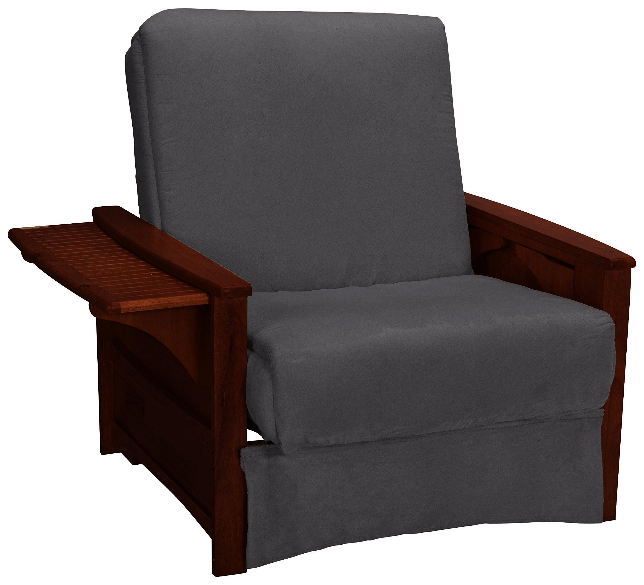 Valet Attached End Table Style Perfect Sit & Sleep Pocketed Coil Inner Spring Pillow Top Child-size Bed, Chair, Mahogany Finish, Microfiber Suede Slate Grey Upholstery