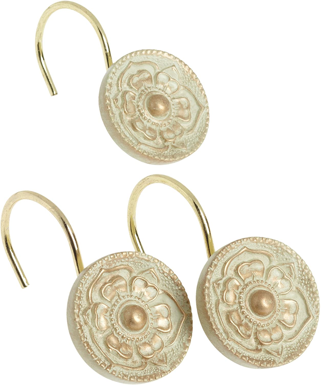 Carnation Home Fashions Provincial Ceramic Resin Shower Curtain Hook, Brushed Gold,Set of 12