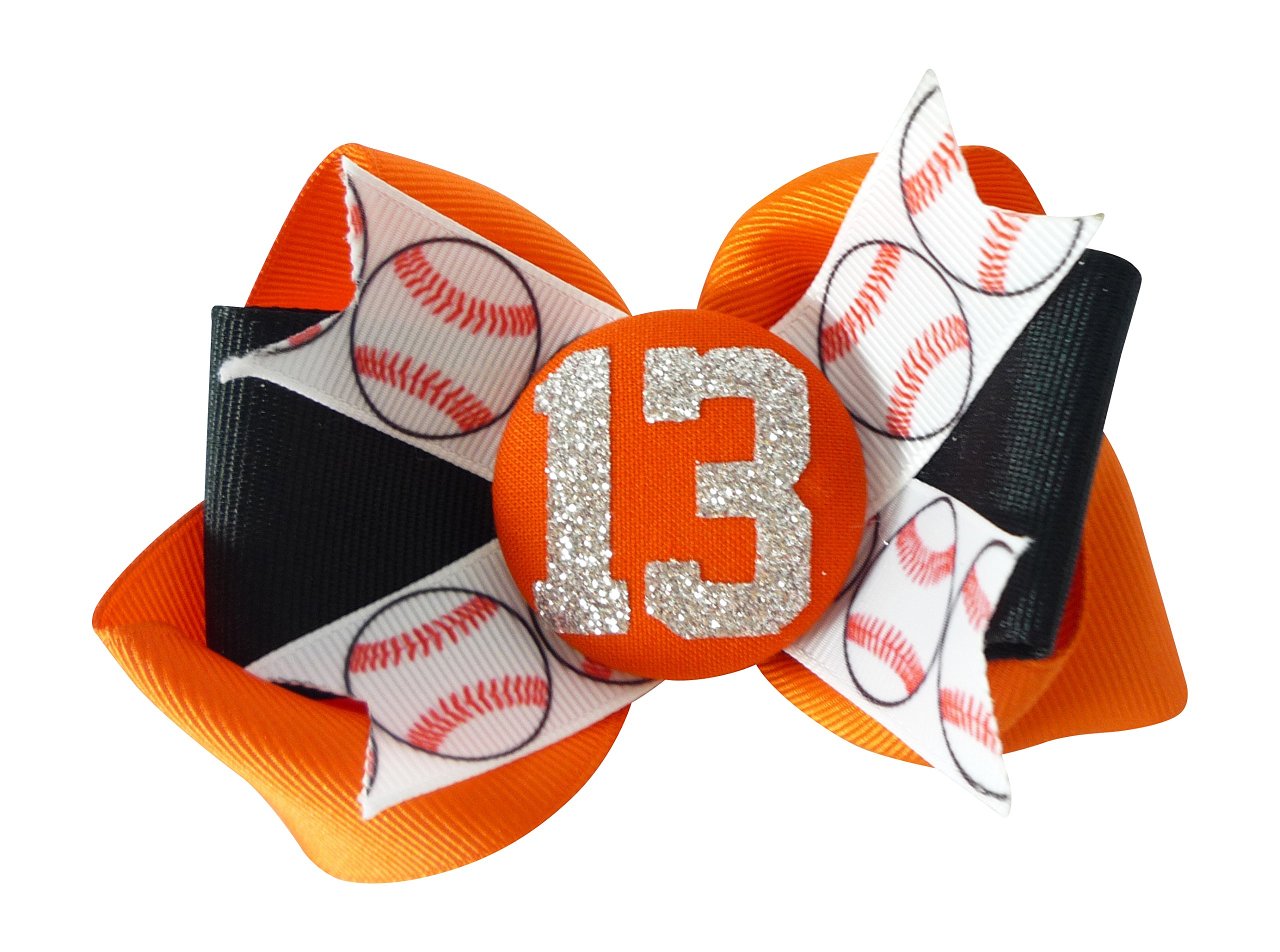 Orange/Black - or Choose Your Team Colors - Glitter Baseball Hair Bow