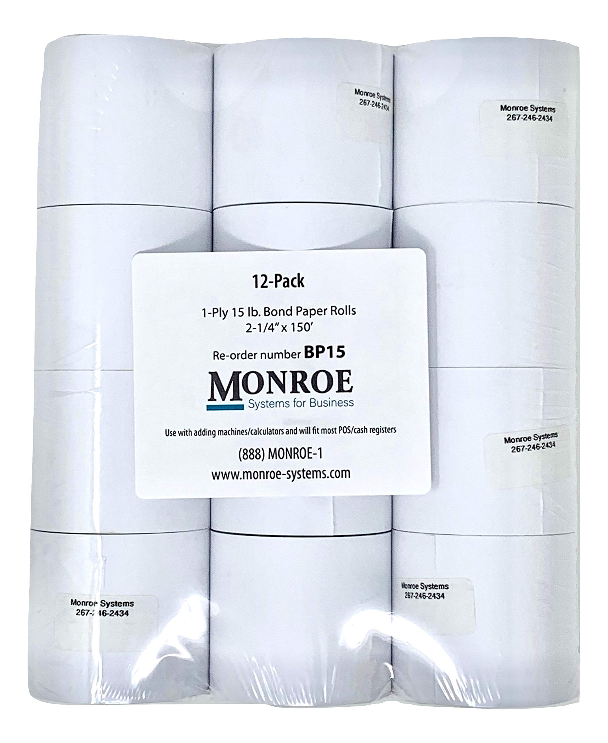 Monroe Systems for Business 15 Pound Bond Paper Rolls, Single Ply, 2 1/4'' x150' for Cash Registers, Printing Calculators, Adding Machines and more! (12-Pack)