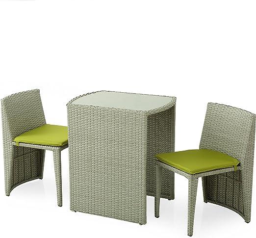 Domus Estilo guttuso Salón de jardín Compuesto de Mesa y 2 sillas Combinar Retráctil Bajo el Mesa, Acero y Ratán Sintético, Color Gris, 66 x 50.5 x 74 cm, 5 Unidades: Amazon.es: Hogar