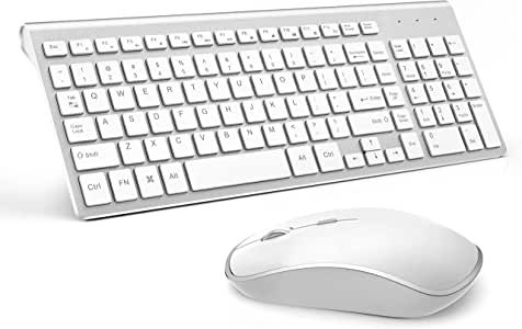 Wireless Keyboard and Mouse Combo,J JOYACCESS 2.4G Slim Wireless Keyboard Mouse-Portable, Full Size, Ergonomic, 2400 DPI,Extreme Power Saving,Sleek Design-White+Silver
