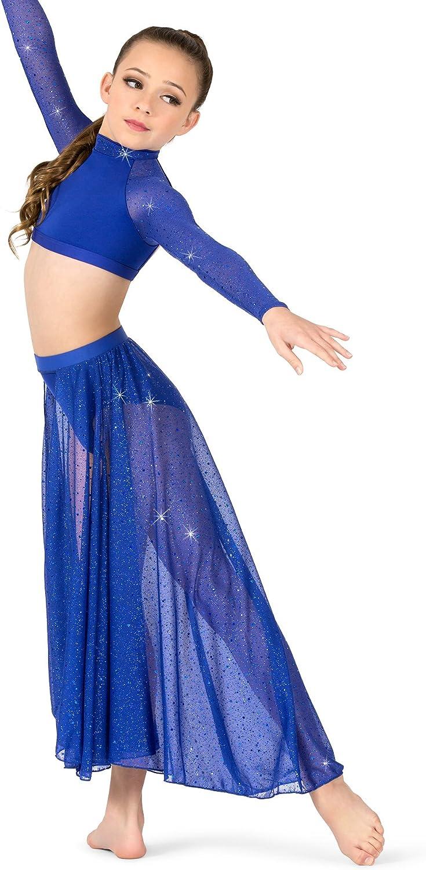 TW311 Body Wrappers Womens Twinkle Chiffon Side Slit Skirt