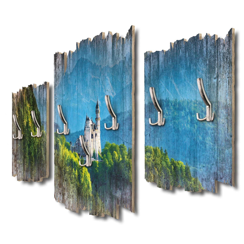 Kreative Feder Schloss Neuschwanstein Panorama Designer Wandgarderobe Flurgarderobe Wandpaneele 95 x 60 cm aus MDF DTGH031