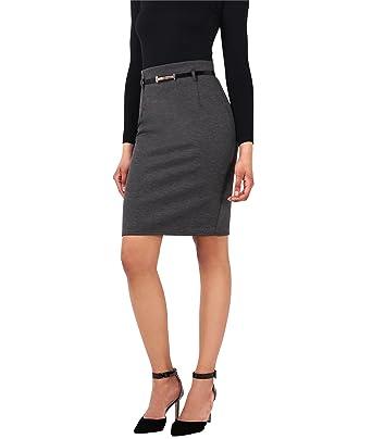 ae0967afc9e05 KRISP® Damen High Waist Eleganter Rock Business Kleidung Knielang