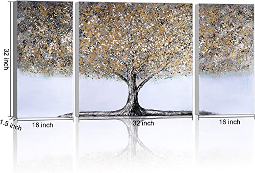 ATOBART Tree Canvas Wall Art Framed Modern Abstract Paintings Artwork Wall Decor Large Hand Painted Wall Canvas Prints Decoration Ready to Hang 2panel 16×32-1panel 32×32