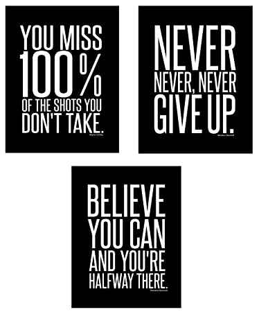 Motivational Inspirational Famous Quotes Teen Boy Girl Sports Wall Art  Posters Decorative Prints Black White Workout